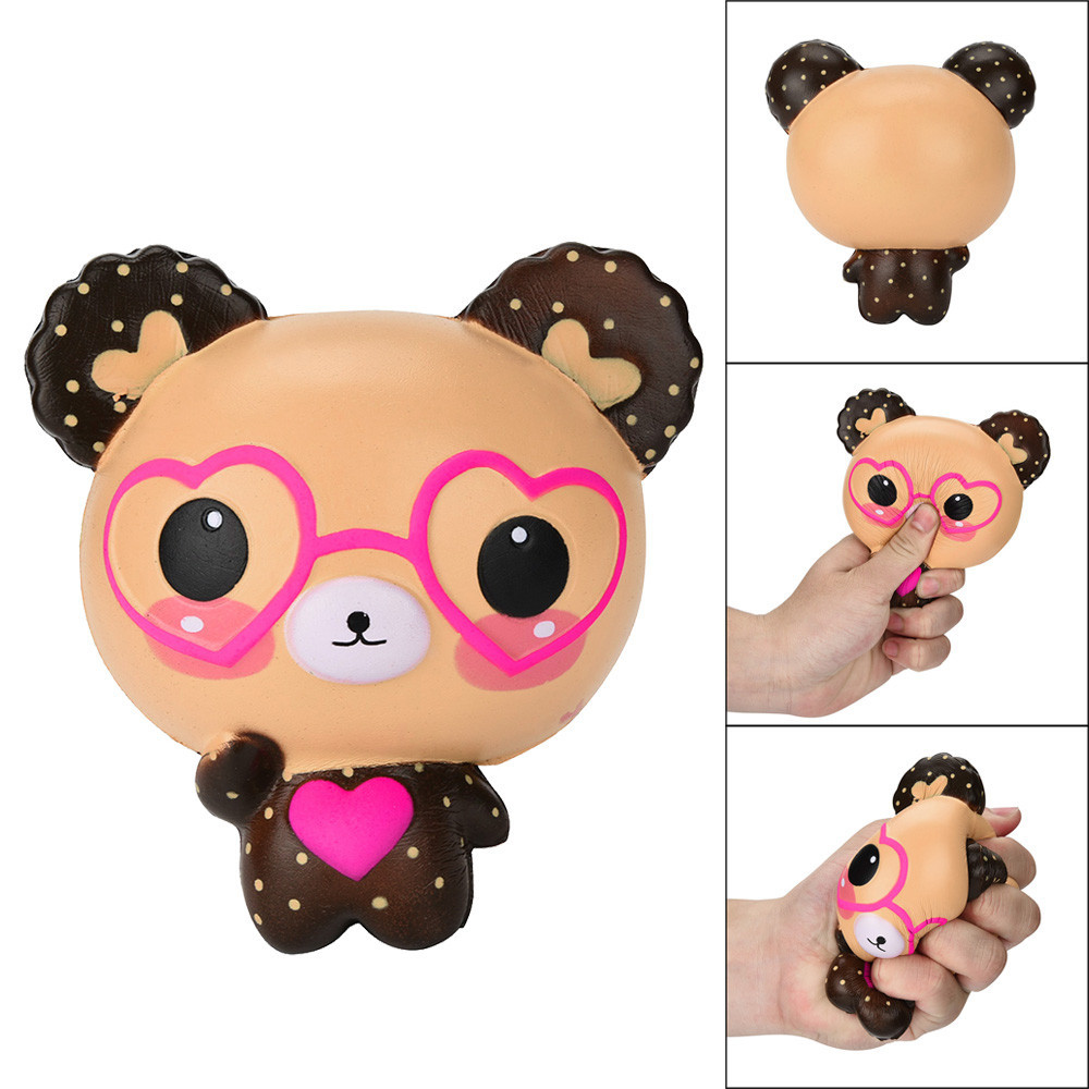 Squishy Love Cute Glasses Bear Scented Squishy Charm Super Stress Relief Reliever Squishy Toy Hot