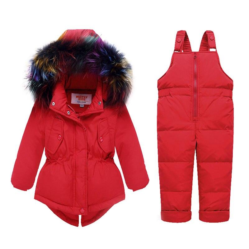 Toddler Baby Girl Winter Jacket Clothes Sets 2018 Natural Color Fur Girls Down Coat Warm Hooded Infant Snow Children Suit 1 2 3Y