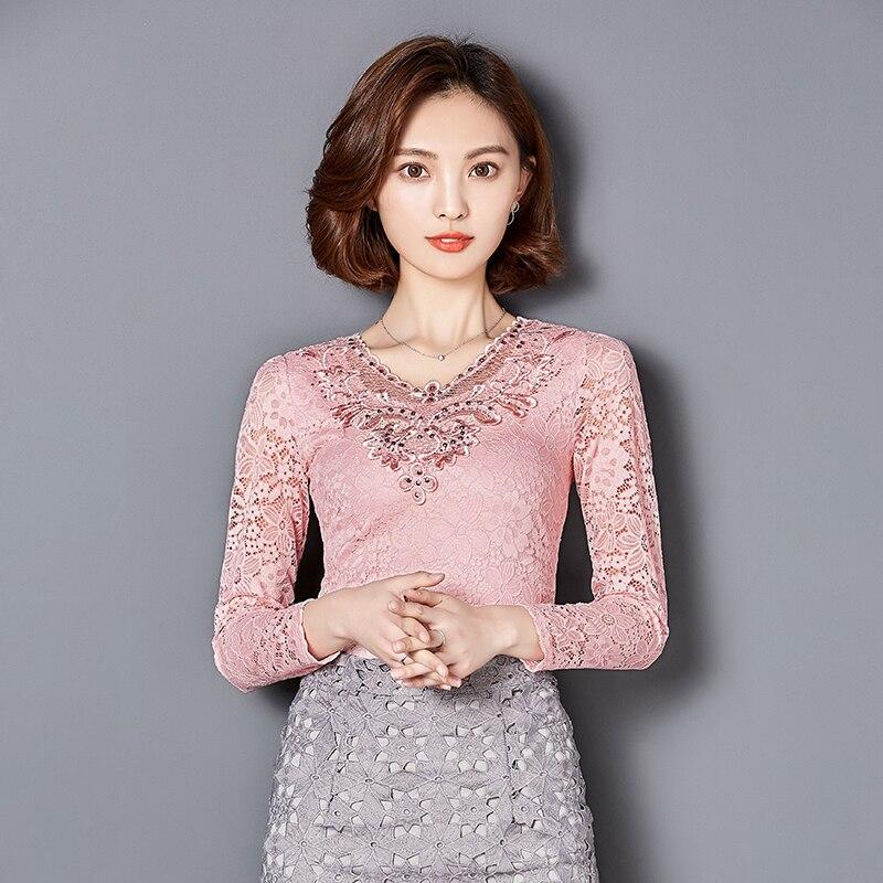 Yeni Payız Qadın bluzları Bərk rəngli uzun qollu Diamonds - Qadın geyimi - Fotoqrafiya 2