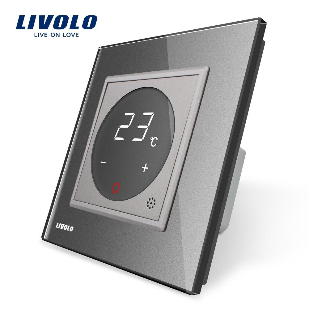 Livolo termostato estándar de la UE de Control de temperatura de calefacción dispositivo 4 colores de cristal de vidrio de Panel AC 110-250 V C701TM-11 - 3