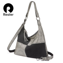 Realer handbag women patchwork pattern crossbody shoulder bag high quality genuine leather female messenger bag large capacity