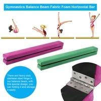 Suede Horizontal Bar 2.1m Folding Balance Beam Home Outdoor Training Balance Beam Durable Gymnastics Gym Training Equipment