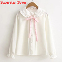 Women Blouse White Peter Pan Collar Female Basic Blouse Japanese Sweet Soft Pink Bow White Shirt