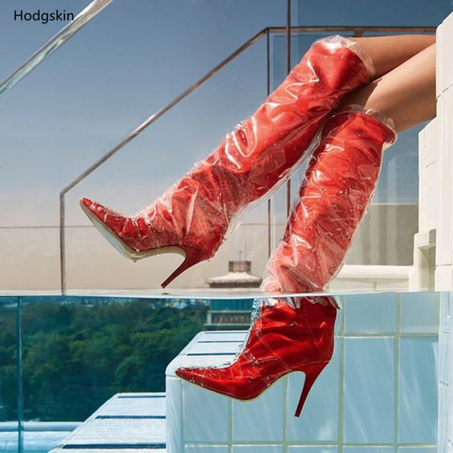Clear Plastic Bag Shoes Women Red High Heeled Sandals Stiletto Pointed Toe Brand Fashion