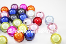 Freeshipping!100pcs/18mm Colored Round Orange Acrylic Beads Jewelry For & Necklace Findings
