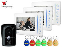 Yobang Security Color Monitor 700TVL Camera Video Door Phone Intercom With 4CH-Monitor Function RFID Keyfob Doorbell System
