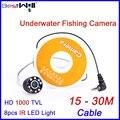 Bestwill original inventor dos peixes de pesca no gelo pesca submarina câmera de vídeo da câmera 6 h com 15-30 m cabo hd 1000 tvl