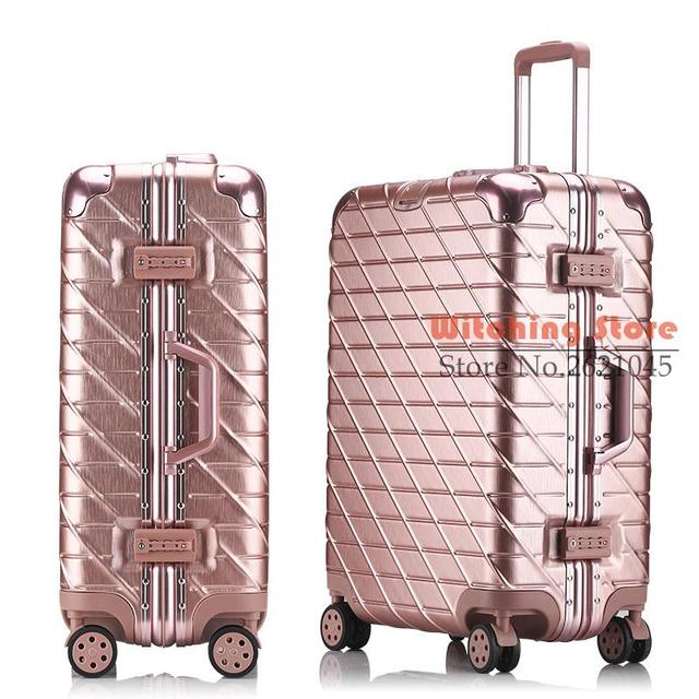 26 INCH  20242629# A drawing scratch luggage trolley suitcase rose gold hard aluminum frame board chassis direct s FREE SHIPPING