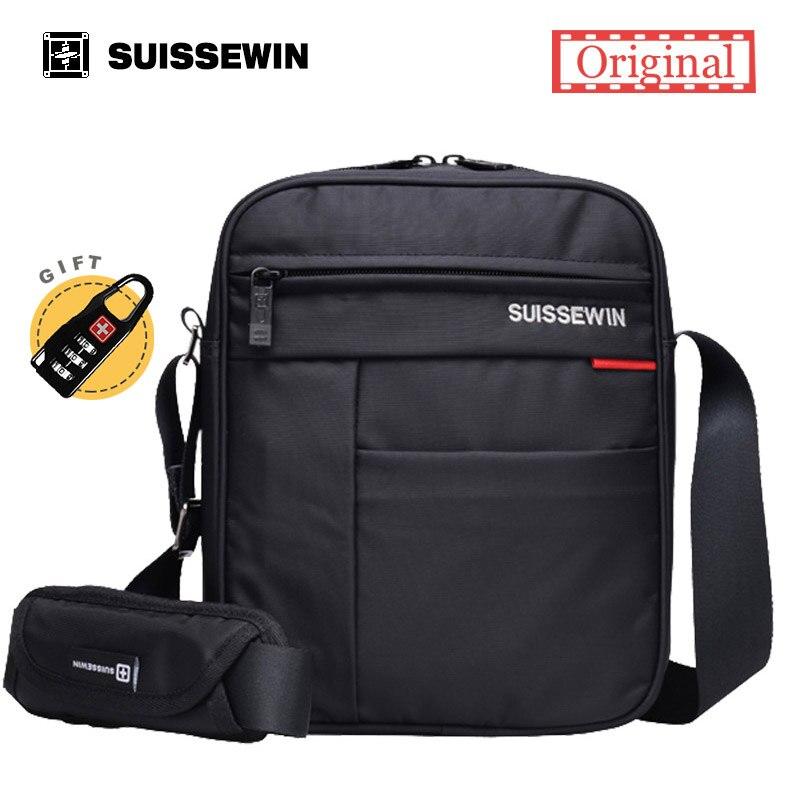 Suissewin Messenger Shoulder Bag Male Famous Brand Men Mini Black Crossbody Bag For Ipad Casual Oxford Messenger Satchel Women casual canvas satchel men sling bag