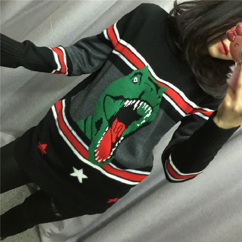 Ky&Q Unisex Pullover 2017 Fashion Dinosaur Jacquard Striped Patchwork Winter Sweater Women Runway Loose Knit Oversized Jumper by Ky&Q
