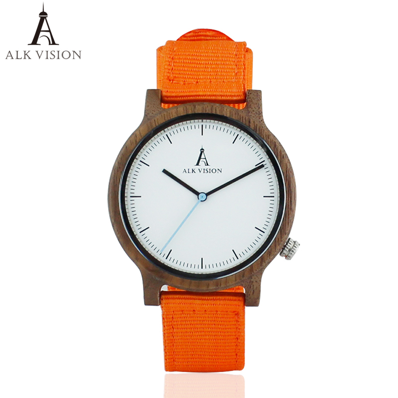ALK Mens Walnut Wooden Watch New Fashion 2018 Canvas Strap Casual - ساعات رجالية