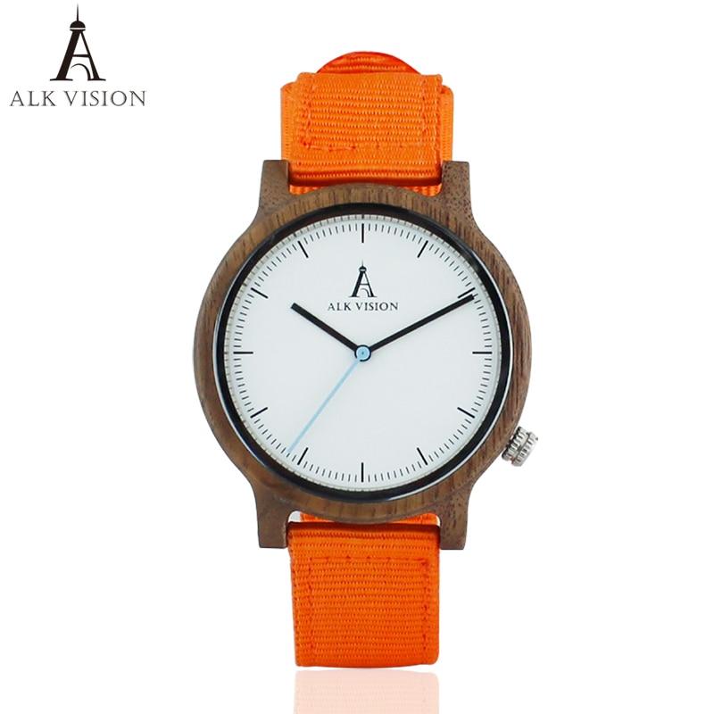 ALK Mens Walnut Houten Horloge Nieuwe Mode 2018 Canvas Casual Horloge - Herenhorloges