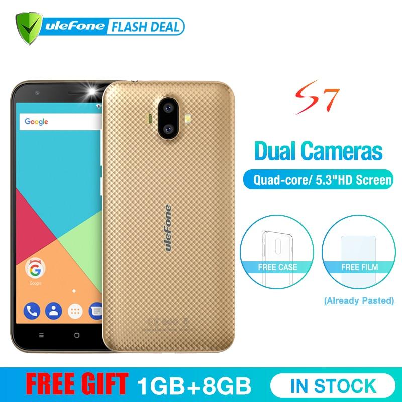 Ulefone S7 1 gb RAM + 8 gb ROM Smartphone 5.0 pouce IPS Écran HD Android 7.0 Double Caméra 3g mobile téléphone