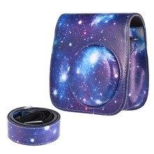 Instantâneas Mini 8 Caso PU Protetora Camera photo Bag Pouch Protector com Alça para Fujifilm Instax Mini 8 +/8 s/8/9 Caso Foto azul