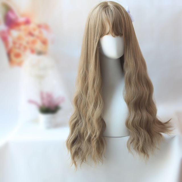 26inch Long Wavy Hair With Bangs For Women Heat Resistant Synthetic Black Brown U Part harajuku Lolita wig