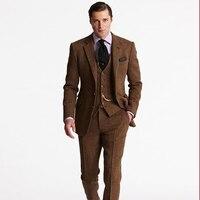 Коричневый мужской костюм для свадьбы твидовый Блейзер пользовательские классический пиджак slim fit мужчина smart casual смокинги пальто 3 шт. для