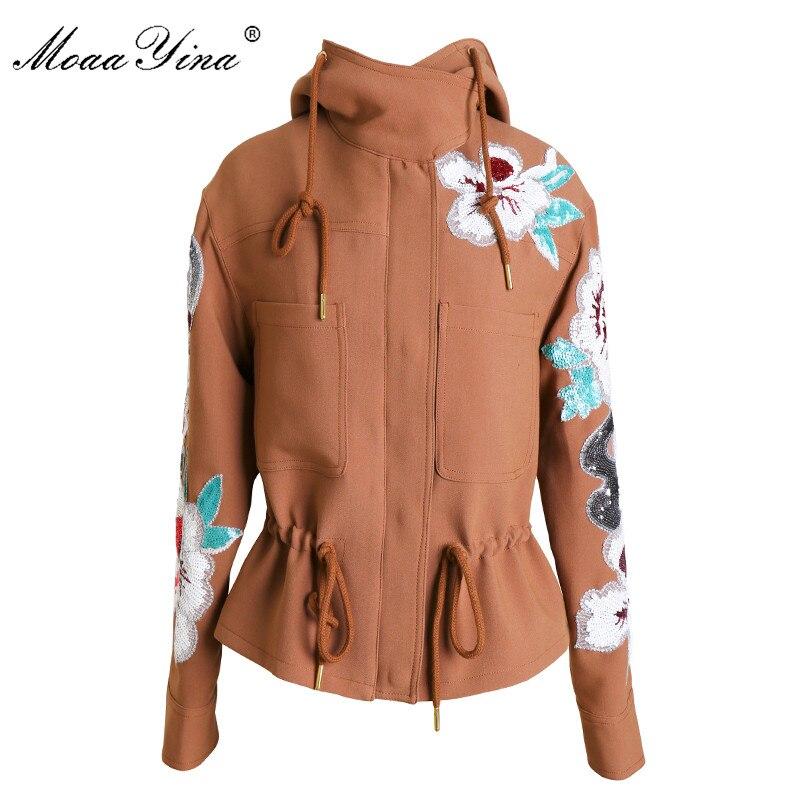 MoaaYina Fashion Designer Hooded jacket Coat Spring Autumn Women s Long sleeve Floral Sequin Drawstring Elegant