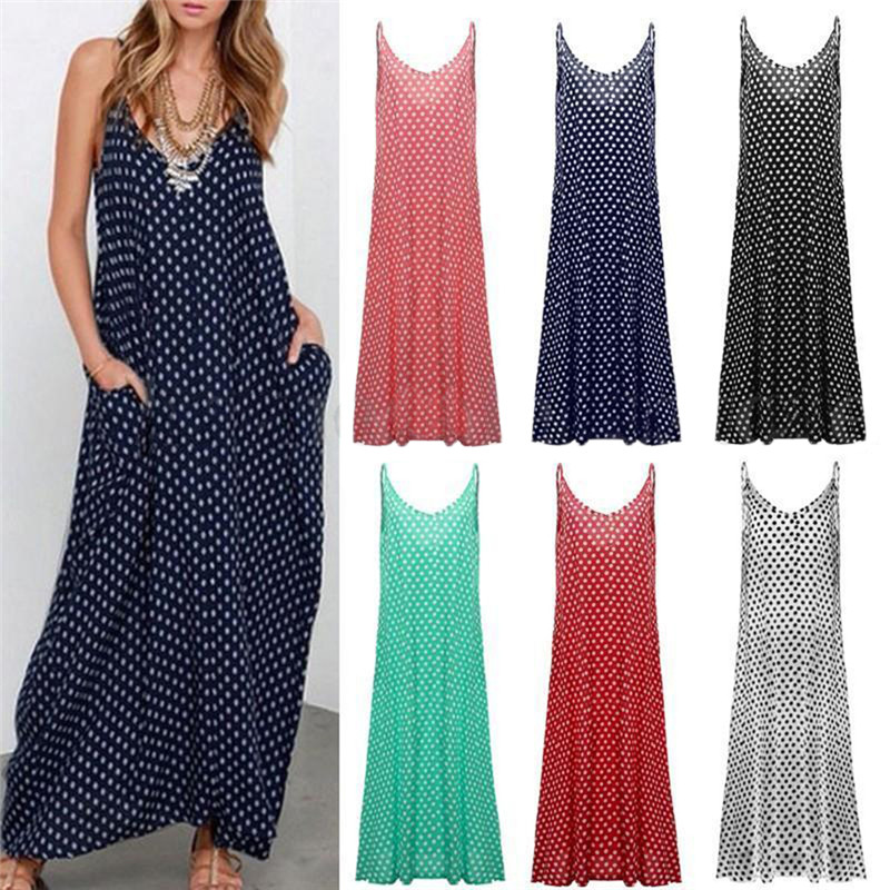 4 цвета летние женские платье модное платье без Бретелек Горошек Свободные длинное Пляжное Платье Макси