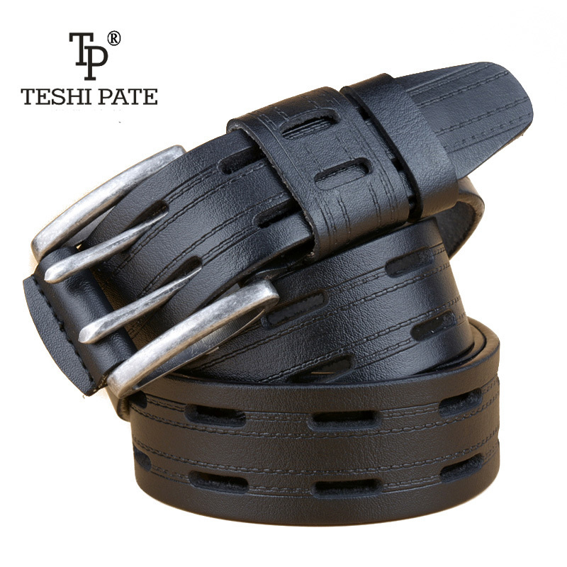 2018 Double-pin buckle Cowhide cummerbunds Leisure Time Genuine Leather Cowboy Male Bring Direct Selling designer   belts   for men