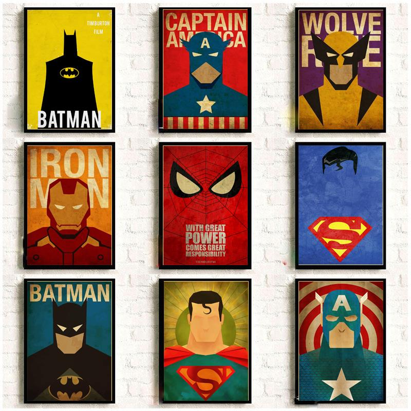 Vintage Posters Wall-Sticker Kraft-Paper Marvel Minimal Home-Decor Super-Heroes for High-Quality