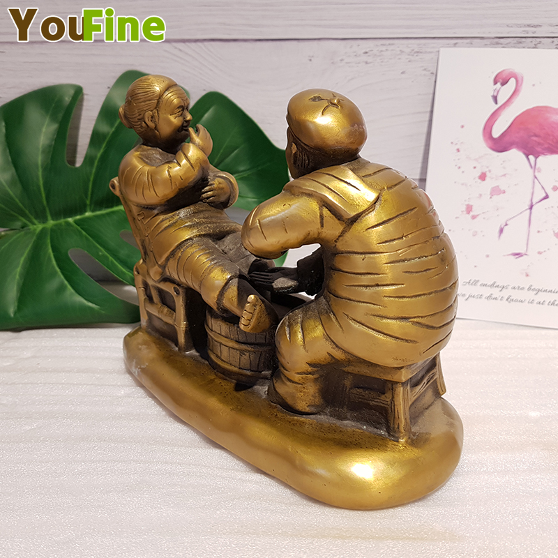 Bronze figure sculpture contentment Changle brass figure home decoration Chinese love sculpture in Statues Sculptures from Home Garden