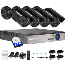 DEFEWAY 8 Channel 1080N DVR 1200TVL 720P HD Outdoor Security Camera System 1TB Hard Drive 8CH HDMI CCTV DVR  Kit  AHD Camera Set