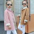 Children's children's clothing in the new winter girl deer velvet long coat cuhk baby lambs wool coat