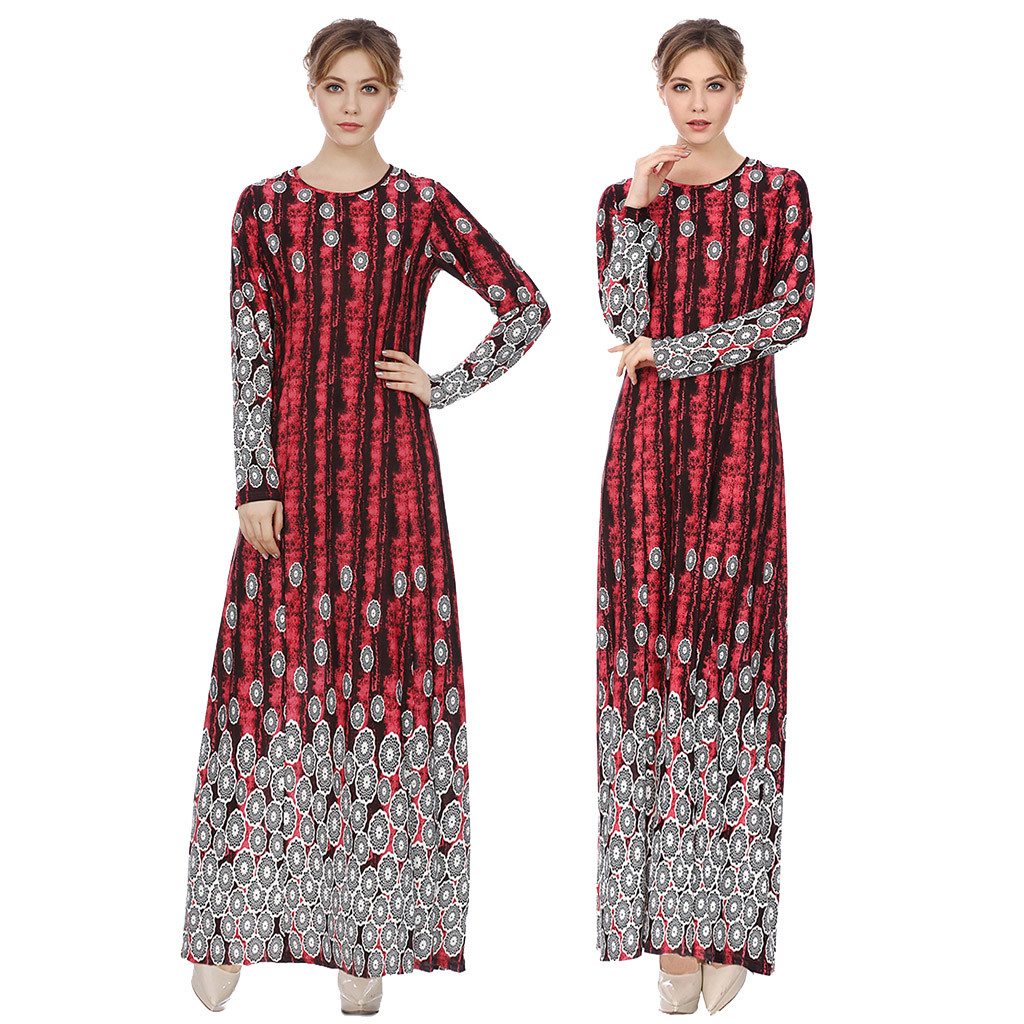 KLV Turkish Islamic Malaysia Muslim Arab Dress Middle Eastern Lady Long Sleeve Long Dress Abayas Robe Musulmane Dubai Clothes