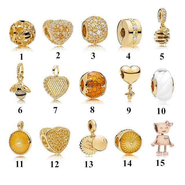 New 2018 Spring Collection Gold Charm Beads Fits  Bracelet Authentic 925 Sterling Silver DIY Jewelry.