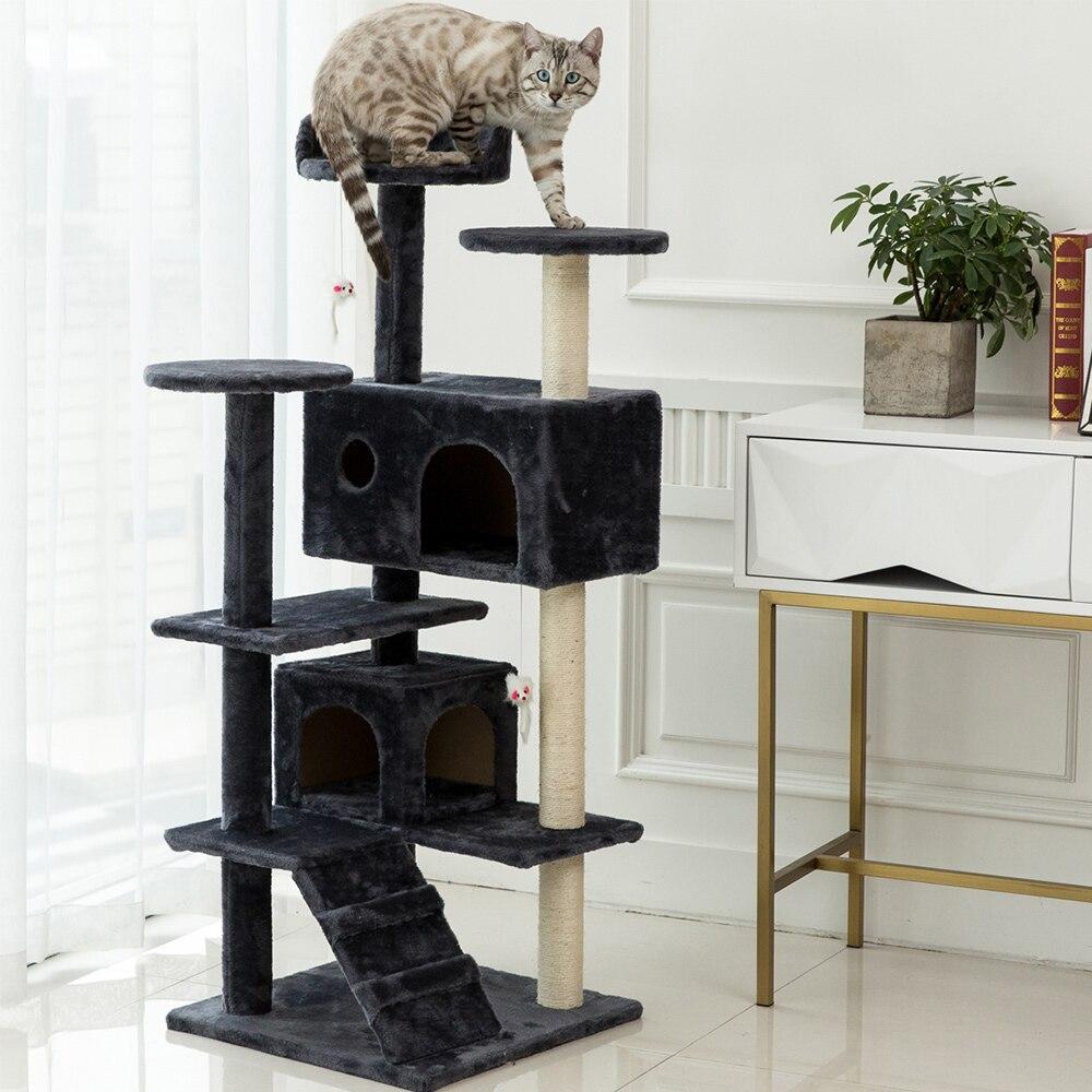 Arbre à chat avec bol d'alimentation, Condos pour chat avec poteaux en Sisal, hamac et grotte, plateforme rembourrée, arbre d'escalade pour chats