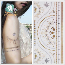 Large 210x100mm Waterproof Body Art Tattoo Stickers Glitter Metal Gold Silver Temporary Flash Tattoo Necklace Tattoos V4618