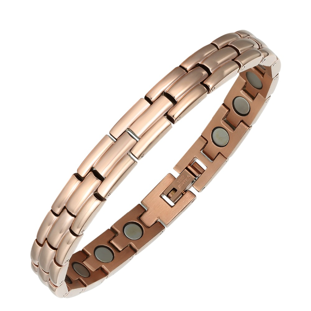 Moocare Rose Gold Sleek Adjule Link Stainless Steel Magnetic Golf Bracelet For Women And Men With Strong Fold Over Clasp In Chain Bracelets From