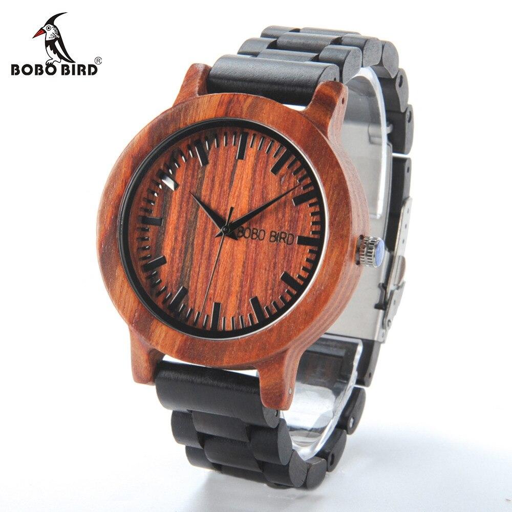 BOBO BIRD LM05 Men Red Sandalwood Dial Ebony Strap Vintage Style Watch Erkek Quartz Clock in Gift Box