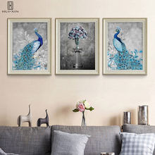 Gorgeous Blue Peacock White Adorable Flowers Wall Art Decorative Canvas Paintings Wall Art For Home Living Eoom Decoration