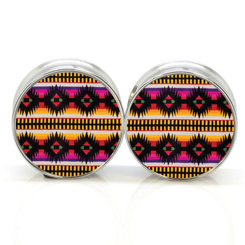1 pair tribe stainless steel night owl plug tunnels double flare ear plug gauges body piercing jewelry