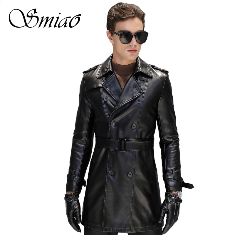 Smiao Men Long PU Leather Jackets Plus Size Men Coats Winter Solid Color Fashion Faux PU Leather Sashes Autumn Men Jacket M-5XL