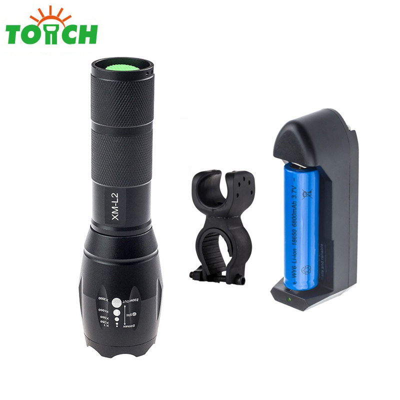 EU/US Power cree xm-l2 led flashlight zoomable 5-modes tactical torch riding flash light with 18650 battery charger bike holder led tactical flashlight 501b cree xm l2 t6 torch hunting rifle light led night light lighting 18650 battery charger box