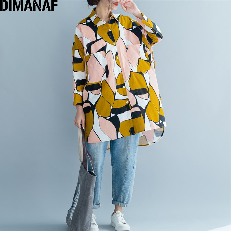 DIMANAF Plus Size Women Blouse Shirt Lady Tops Summer Female Clothes Loose Casual Big Size Long Sleeve Print Shirt Cardigan 2019