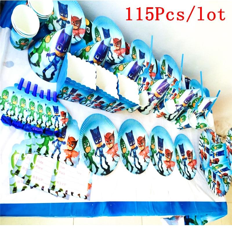 Pj Masks Birthday Decorations Kids 115 Pcs/set Party Supplies Tableware Set Moana Trolls Cartoon Disposable Cup Horn Blowout