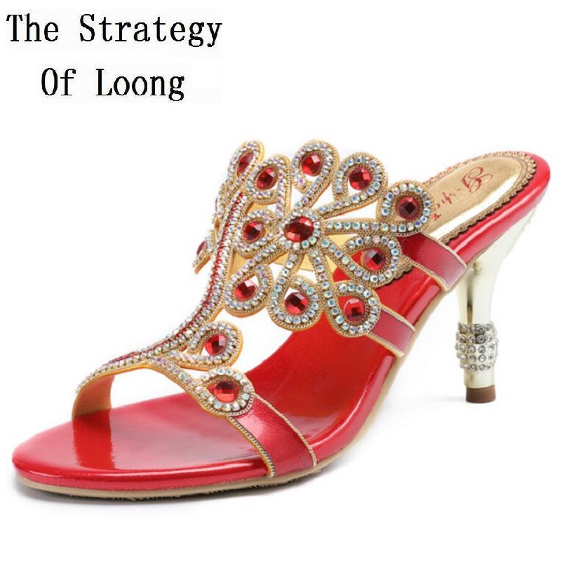 Women Full Genuine Leather Thin High Heels Rhinestones Sexy Slippers Plus Size Open The Toe Real