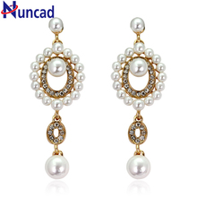 2017 Luxury Synthetic Pearl Beads Long Earrings White Crystal Plant Silver Color Dangle Drop Earrings for Women Wedding Jewelry
