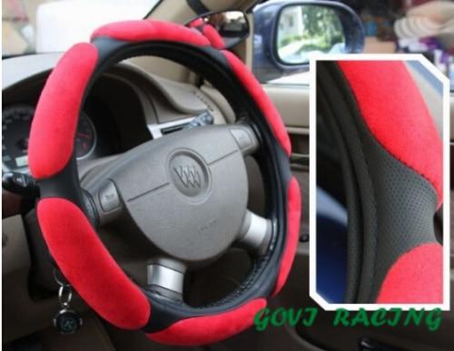 sarkana āda Stūres pārsegs ar zamšādu 36cm universāls koka ādas DIY auto stūres vāks Car Protect Skidproof Cover