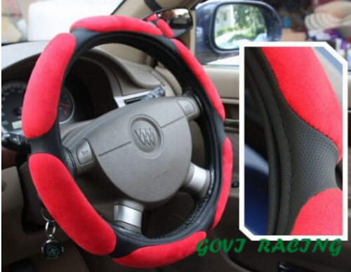red leather Steering wheel cover with suede 36cm universal pu leather DIY car steering wheel cover Car Protect Skidproof Cover