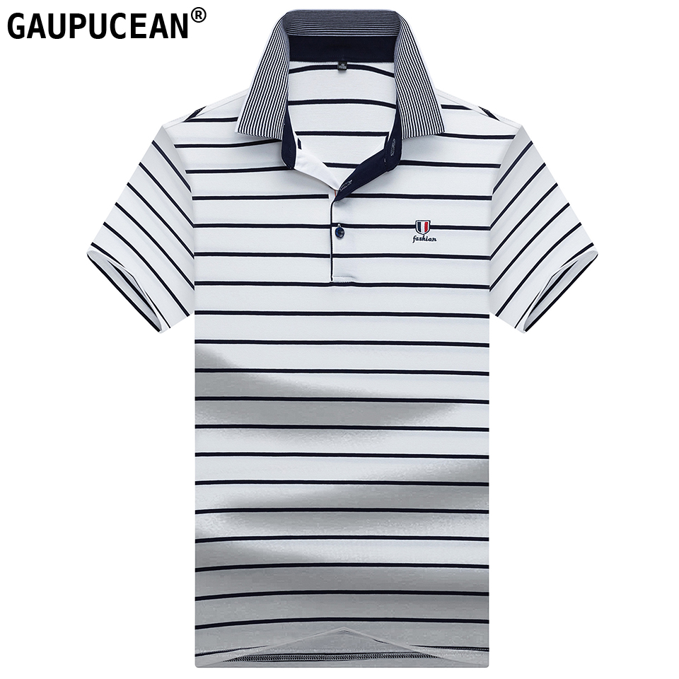 95% Cotton 5% Spandex   Polo   Shirt Men Short Sleeve Asian Sizes Male Yellow White Blue Quality Fashion Stripe Man   Polo  -shirt