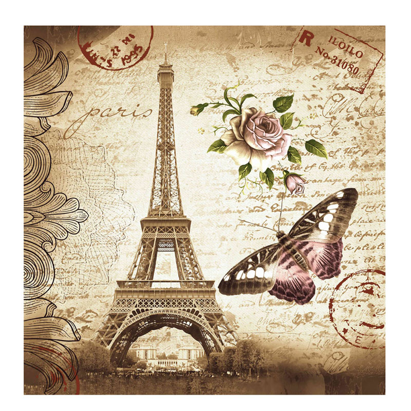 180 x 180 Waterproof Fabric Retro Eiffel Tower & Butterfly Shower Curtain Bathroom Curtain With 12 white plastic C-type hook
