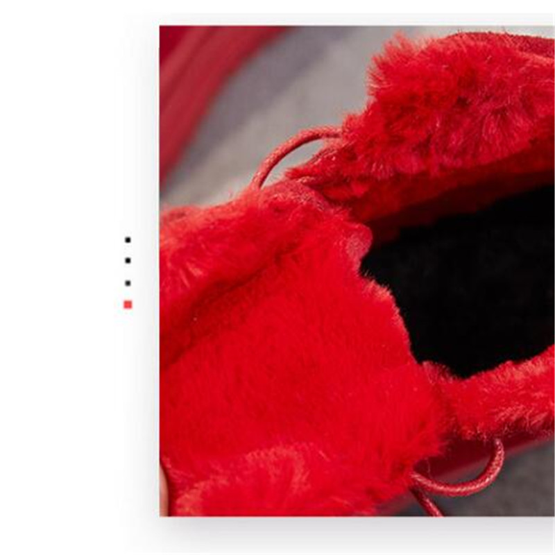 Chaussures Cuir Bottes En Femme rouge Lacets À Pour Cheville Noir Hiver Neige Véritable 2018 D'hiver Martin pqE8nU05wE