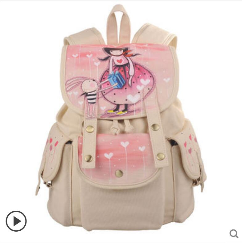 Canvas backpack fashion cute shoulder bag Mori female backpack student Korean version of the hand-painted backpack 2017 new painted canvas bag shoulder bag korean version of the travel backpack student bag school bag campus