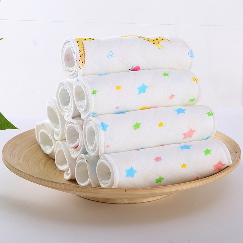 Hot Sale 1 Piece 3 Layer Insert 100% Cotton Washable Baby Care Products Reusable Baby Diapers Cloth Diaper Inserts