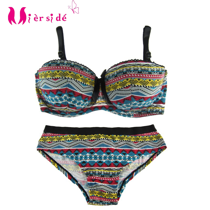 Mierside Hot Strapless Sexy Soft Push Up   Bra     Sets   Beautiful Colorful Europe size Cotton   Bra  &  Brief     sets   32-38A/B/C/D 20114