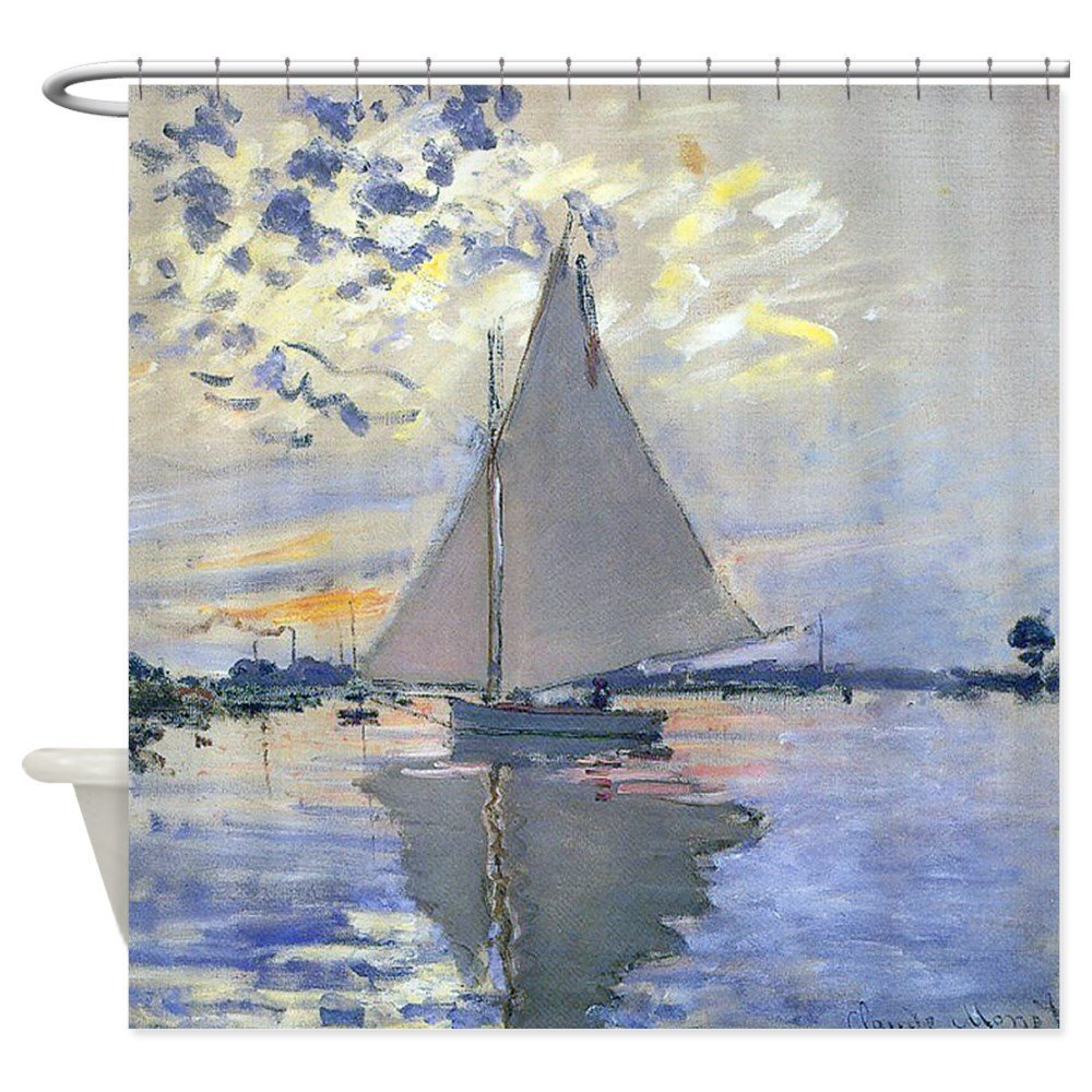 Claude Monet Sailboat Shower Curtain Decorative Fabric For Bathroom Waterproof Polyester In Curtains From Home Garden